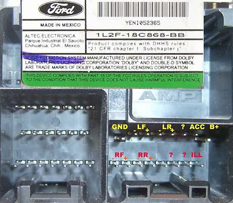 Распиновка автомагнитол Ford.  611x613 - Автомагнитолы - Автомагнитолы - Персональный сайт.