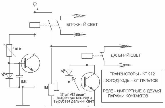 включение света ночью.  Рис. 1. Схема устройства.  Схема автоматического включения света в темное время суток.