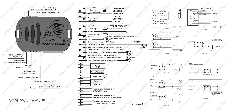 Сигнализация томагавк схема установки